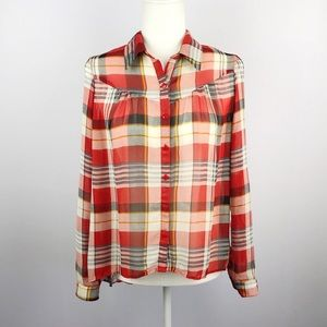 Paper Crane | Plaid Sheer Button Down Blouse